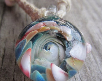 Glass and Hemp Marine Necklace