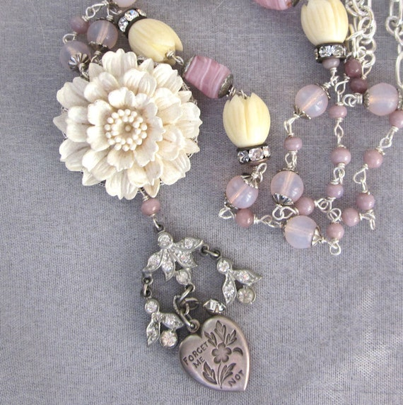 Sterling Silver Sweetheart Charm Assemblage Necklace - Vintage Flower Floral, Pink Glass Beads, Rhinestones Upcycled Fashion Jewelry