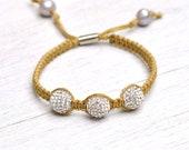 PAVE FIREBALL Macrame Bracelet by MOONDROPS