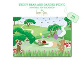 Teddy Bear and Garden Picnic Printable Backdrop