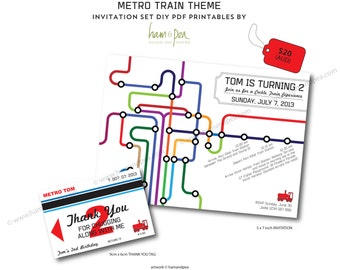 Metro Train Theme Printables Invitation Set