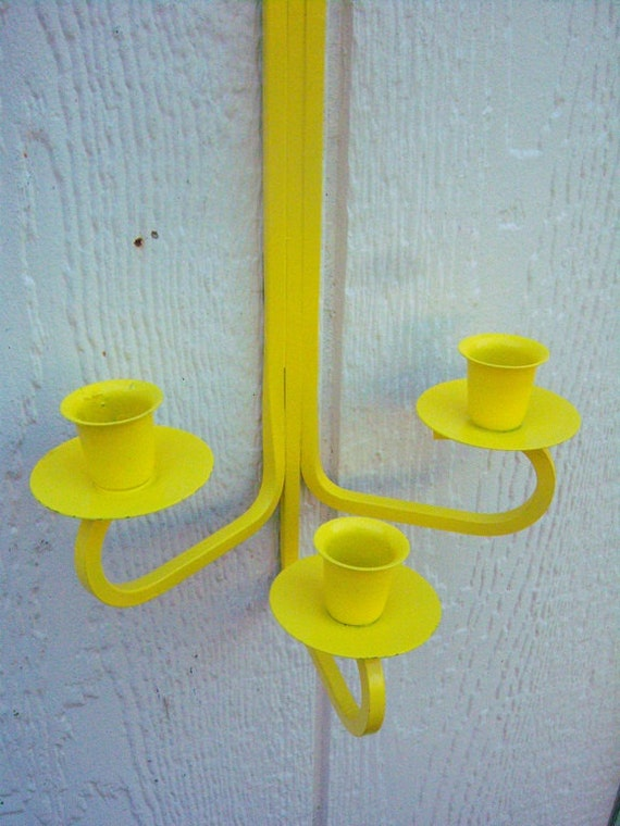 Sunny Yellow-Candelabra- Wall Hanging-RESERVED