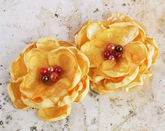 Yellow Satin Fabric Flowers - Banda Golden Yellow 562021 -   layered fabric flowers with cluster pearl  embellishment center accent