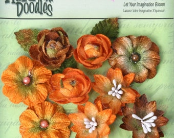 fabric flowers -  Assorted mixed Blossoms  Orange Brown Fall Autumn  1263-007 -  9 fabric flowers with embellished centers