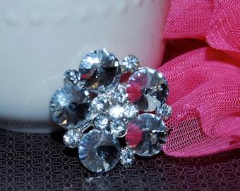 "3 pcs - Crystal Flower center brooch - 1"" silver metal rhinestone shoe clip pin - bridal wedding bouquet cake decoration - Annabel SB06"