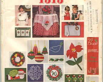 1970s Vogue 1313 Santa Pack II Craft Pattern Embroidered Christmas Holiday Motifs Embroidery Transfers Gingerbread Men Poinsettia Santa