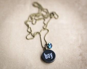 Its a Boy Necklace - Miniature Pendant - Vintage Typewriter Key Inspiration - Girl Baby Shower