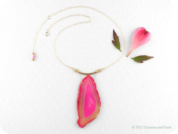 "Hot pink druzy agate geode slice necklace "" Pretty in Pink "" neon"