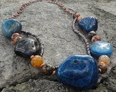 Blue Agate Stone and Copper Chainmaille Necklace for Women