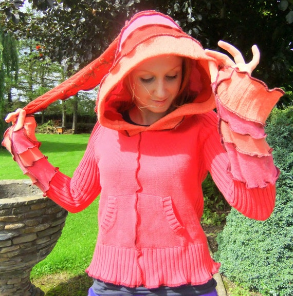 Orange Red pixie hoodie - Upcycled sweaters - 12 10 READY to SHIP