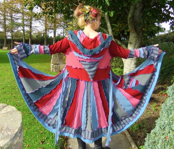 SALE - Blue red Elf coat - One of a Kind - XL - XXL - Ready to Ship