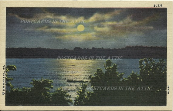 Vintage Linen Postcard - Night Scene - Moonlight Scenes Series - Ephemera - 1940s - Curteich - Vacation - Travel Souvenir
