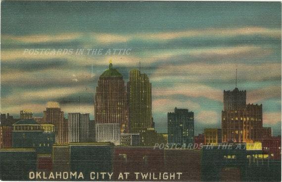 Vintage Linen Postcard - Oklahoma City At Twilight - Ephemera - Travel Souvenir - Night Scene