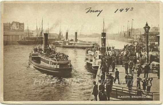 Antique Postcard Glasgow Broomielaw - Raphael Tuck - Sepia - 1940s