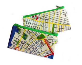 I LOVE NEW York, pencil case, zipper pouch, with New York map printed on it