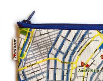 Zipper pouch pencil case with AMSTERDAM Map printed and blue zipper - Back to school pencil case for teens, cotton fabric for woman for man