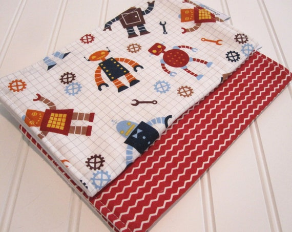 RESERVED/Burp Cloths/Robot Factory Organic Cotton/Double Flannel Backing in White/Set of Two