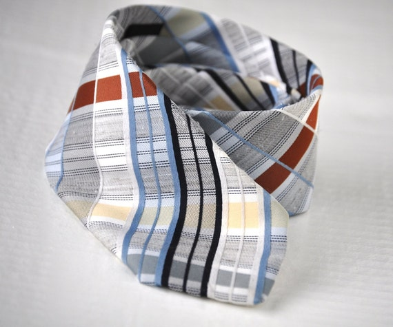 Retro Plaid Tie Mens Vintage Necktie Blues Brown Yellow Necktie Eveteam