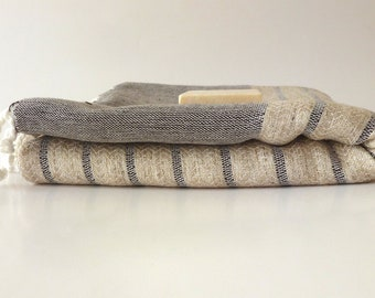 Organic Bamboo Turkish Towel, Peshtemal, beach, bath towel, yoga, spa, hammam, Natural Soft, Elegant Brown Striped, special  gift
