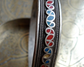 Moroccan red and blue bracelet