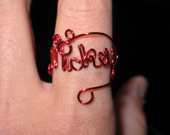 Wire Wrapped MICKEY Spelled Adjustable Ring With Mickey Mouse Head MADE to Order