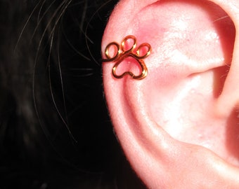 Wire Wrapped Paw Print Ear Cuff MADE TO ORDER