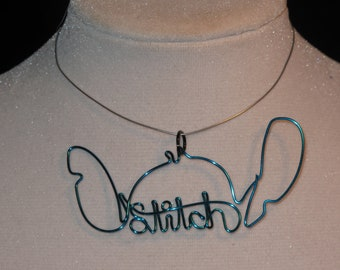 Wire Wrapped Lilo's Stitch Spelled Pendant MADE to ORDER