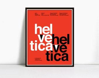 24x36 Inch Gicleè Suisse Swiss Helvetica Type Specimen Poster - color: Orange