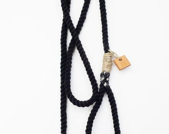 Rope dog leash dog collar pet accessory dip dyed leash: Black cotton rope leash