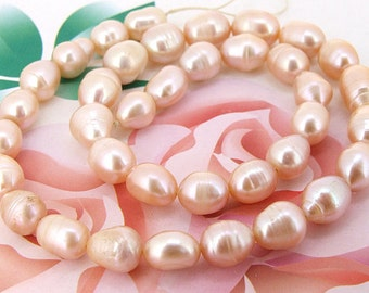 Loose  pink 7mmx8mm rice  freshwater cultured Pearl beads FULL STRAND