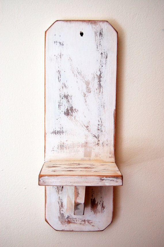 Rustic Shabby Chic White Wood Sconce