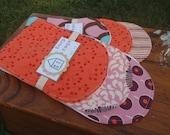 Baby Burp Cloth / Burp Rag Set of Three - You Choose the Fabric - Pink, Purple, Orange and Blue Combination