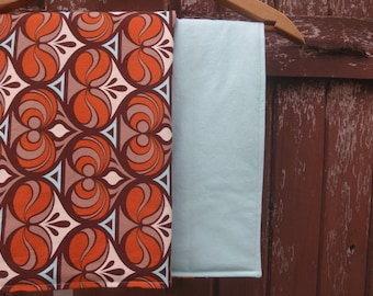 Changing Pad for Baby/Toddler Boy or Girl - Chocolate Brown, Rust Orange, Cream and Aqua Blue 70s-Inspired Retro Print