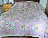 Lavender Yo Yo Quilt Coverlet and Pillow, 1920s antique quilt - Free U.S. Shipping
