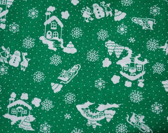 Green Holiday Fabric, Houses, sleighs and snowmen, 3 pieces