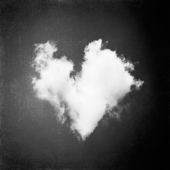 Black and white photography heart love cloud nursery print - Black and white love pictures ...