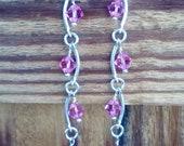 Silver and pink swarvoski crystal dangle earrings