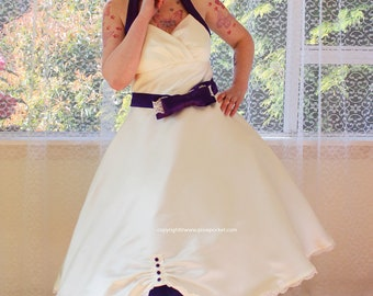 """1950's """"Sophia"""" Ivory Wedding Dress with Purple Halterneck Trim and Belt, Tea Length Skirt and Petticoat - Custom made to fit - Any Colour"""