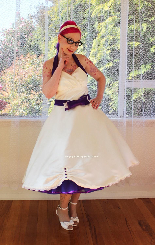 1950 39 S Sophia Ivory Wedding Dress With Purple