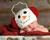 Snowman Beanie with earmuffs.  Newborn thru 6 months available.  Perfect for Christmas photo Prop