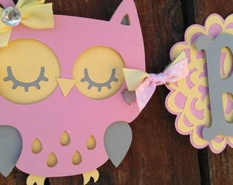 Pink, yellow & Gray Bird Baby Shower Banner.