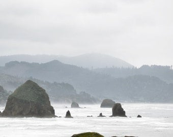 Ocean Photography Print Fine Art Oregon Pacific Northwest Haystack Rock Beach Rustic Mountains Spring Landscape Photography Print.
