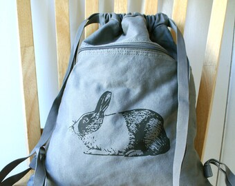 Rabbit Backpack Canvas Screen Printed