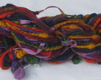 Handspun Art Yarn in Vivid Colors, 37 yards