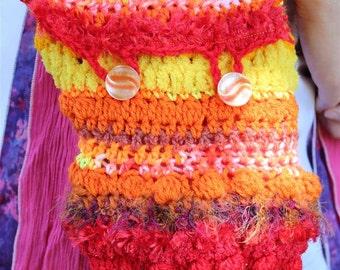 Fire Freeform Crochet Bag- Fully Lined