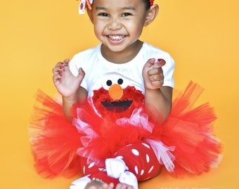 Monster Outfit for little girls -- bodysuit or shirt, tutu, leg warmers and Over The Top bow-- red monster birthday outfit