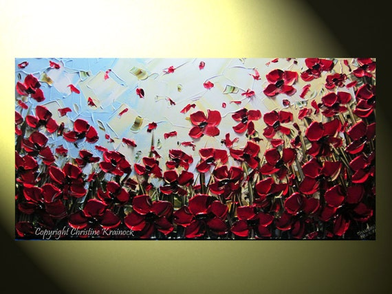 "Original Abstract Textured Red Poppies Painting, Palette Knife, Poppy Flowers Blossoms Modern Red Blue Gold 24x48"" -Christine"