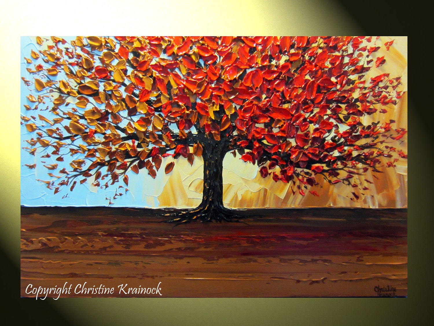 Original art abstract painting red tree of life modern for Autumn tree painting