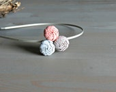 Peach Grey Blue Rosette Headband  for Women . Gifts for Her . Free Shipping