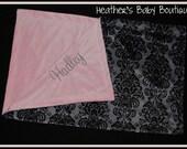 Gray and Black Damask Minky Baby Blanket with Dark Pink Minky Dot